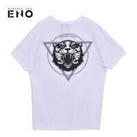 BURANDOENO潮牌时尚男式短袖T恤衫虎头印花E19S41MSS084