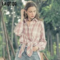 Lagogo2019秋季新款亮丝格子开衩长袖衬衫女复古中长款ICCC447D13