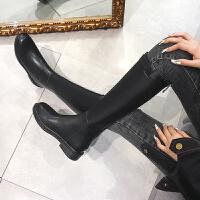 秋冬网红靴子皮靴女长靴单靴粗跟加绒高筒骑士靴长筒军靴马靴 黑色 加绒