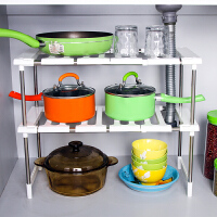 水槽置物架不锈钢双层可伸缩厨房置物架收纳衣柜置物整理架