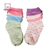 小米米纯棉婴儿袜子新生儿春秋短筒袜宝宝袜男女童防滑地板袜