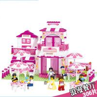 拼装插女孩餐厅公主儿童玩具小鲁班积木
