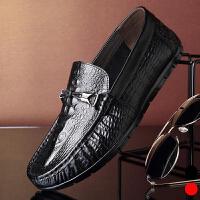 宜驰 EGCHI 男士鳄鱼纹皮鞋套脚驾车鞋KA1888