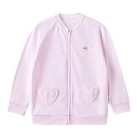 全棉时代 女童针织长袖防蚊衣宝宝纯棉外套粉色防晒衣1件装