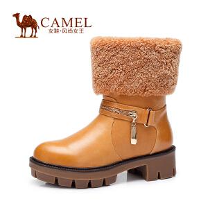 Camel/骆驼女鞋 保暖舒适 油蜡牛皮羊卷毛圆头中跟套脚中筒女靴