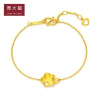周大福花月佳期系列桃花黄金手链计价F214761精品