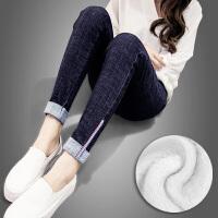 加绒牛仔裤女2017新款冬季韩版加厚高腰显瘦带绒保暖小脚裤 XXL 推荐128一140斤