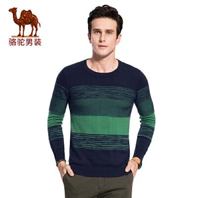 骆驼男装 秋季新款圆领修身套头时尚休闲男士毛衣时尚男上衣
