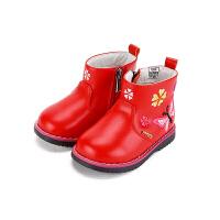 【159元任选2双】百丽童鞋儿童中筒靴冬款婴幼童保暖靴子女童时装靴潮(1-5岁可选)CE6349