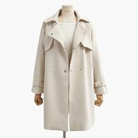 韩国风衣外套女生2017春季新品宽松显瘦双排扣中长款系腰带 均码
