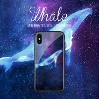 炫彩鲸鱼与太空人苹果8plus手机壳玻璃iPhone7保护套个性创意X潮款6男卡通6splus网红明星同款xs max