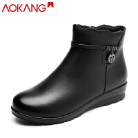 奥康棉鞋女平底保暖棉靴真皮短靴子新款高帮加绒棉鞋