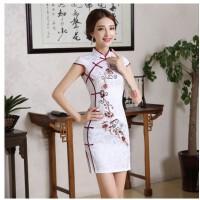 少女新款时尚改良复古日常旗袍短款连衣裙子性感修身