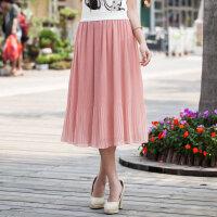 特尚莱菲 半身裙夏新款淑女裙押褶净色雪纺中长裙 WWH3009