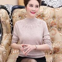 中老年女装秋冬装套头毛衣半高领短款40岁50中年妈妈装加厚羊毛衫