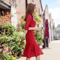 花瓣鱼尾裙圆领红色礼服蕾丝连衣裙长袖女2017新款秋冬 红色(6号出货) 春秋款