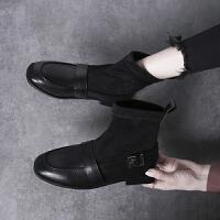 袜子靴女短靴2019秋季百搭平底网红瘦瘦靴低跟英伦风小皮鞋潮