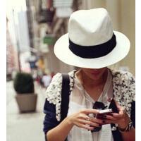 白色平檐宽檐女式草帽女士礼帽遮阳帽子海边沙滩帽 支持礼品卡