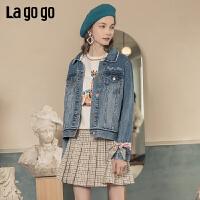 Lagogo/拉谷谷2020春季新款撞色字母刺绣牛仔外套女JAWW512A46