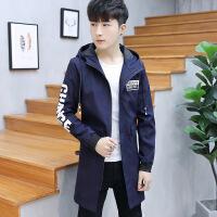 2018春秋季新款男士韩版潮流外套中长款风衣男青少年修身连帽夹克