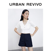 UR2021夏季新品女装休闲U型领薄款毛织外套上衣WJ06R9DX2000