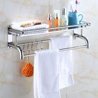 加厚毛巾架50厘米不锈钢浴巾架浴室挂件免打孔厕所卫生间置物架壁挂卫浴-单层厚款