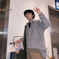 长袖衬衫男士新款条纹衬衣青少年韩版修身寸衫学生宽松百搭打底衫
