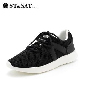 星期六男鞋(ST&SAT)新专柜同款轻便休闲运动跑步潮鞋 SS831251 黑色