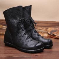 新品秋冬手工褶皱特色文艺风女靴头层低跟舒适骑士靴短靴