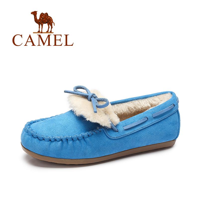 【领卷下单立减120元】camel骆驼女鞋 豆豆鞋加绒鞋保暖雪地鞋平底休闲孕妇鞋