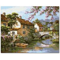 菲绣绣艺 手绘油画 数字油画 diy数字油画客厅风景花卉大幅手绘装饰画世外桃园 40*50cm