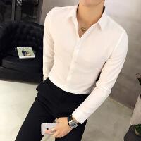 衬衫男学生白衬衫男长袖潮流纯色韩版修身型职业正装休闲商务衬衣男士秋冬季
