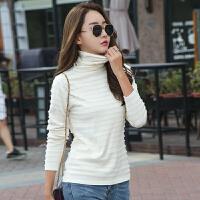 条纹针织衫女长袖秋冬新款韩版修身显瘦高领套头打底毛衣