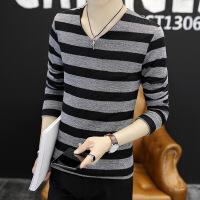 超大码男装长袖T恤男V领针织打底衫修身外穿秋衣加肥加大码卫衣男装韩版上衣