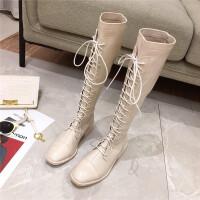 2019秋季韩版高筒系带靴时尚百搭长筒粗跟中跟靴马丁靴女鞋潮