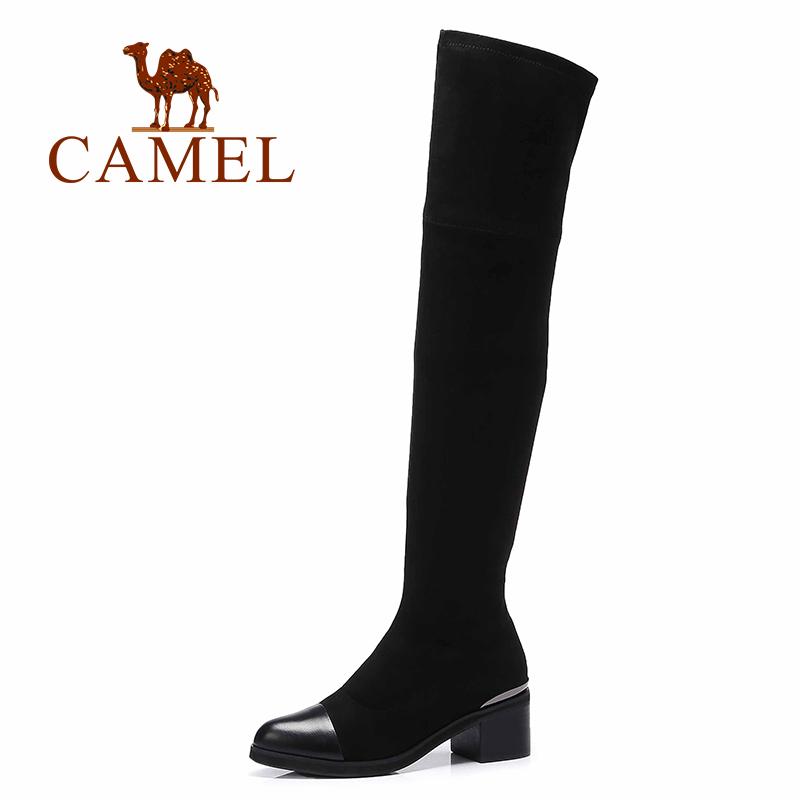 Camel/骆驼女靴 高筒女靴简约优雅过膝长筒女靴