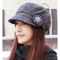 户外新款帽子 女韩版休闲潮夹棉时装八角帽女士鸭舌帽画家帽时尚简约中青年妈妈帽