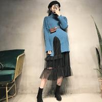 秋款网纱连衣裙两件套潮妈孕妇装秋冬款套装洋气韩版开叉高领毛衣