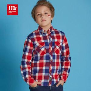季季乐童装男童衬衫长袖春秋款纯棉衣服立领中大童男孩衬衣BQC61176