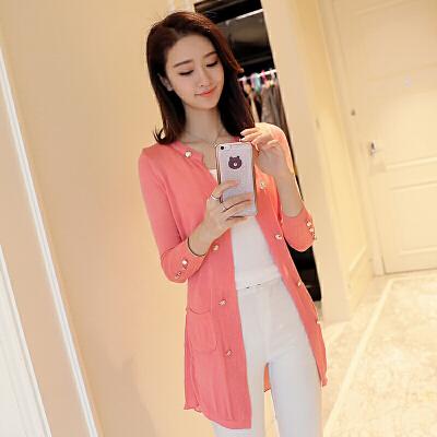 秋季新款2018韩版女修身纯色针织开衫显瘦外搭单排扣薄款潮流外套