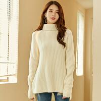 丝秋冬新款纯羊绒衫女装加厚毛衣女高领套头宽松打底针织衫 白色
