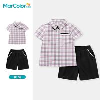 马卡乐童装2021夏季新款男童可脱卸领结绅士精致衬衫套装