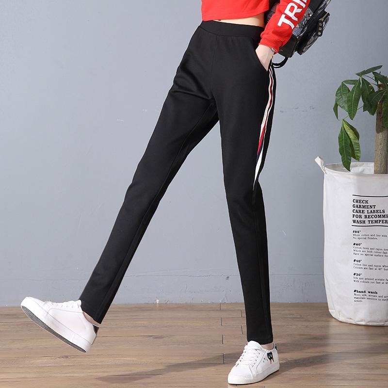 侧条纹休闲裤女新款长裤宽松大码韩版百搭学生哈伦运动裤