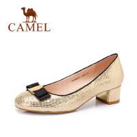 Camel/骆驼女鞋 时尚休闲 春季新款单鞋 圆头蝴蝶结中跟单鞋