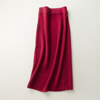秋冬女加厚包臀裙中长款羊绒高腰毛线裙一步裙针织羊毛半身裙长裙
