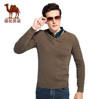 骆驼男装V领纯棉针织衫 秋季新款套头韩版修身男青年长袖毛衣