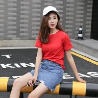 厂家直销红色纯棉T恤红色纯棉t恤女夏短袖体��2018净版短袖�B血汗衫显瘦体��