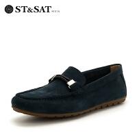 【领券减150】星期六男鞋(ST&SAT)秋季男鞋牛皮革系带商务休闲鞋SS82126618 深蓝色