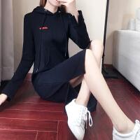 长款过膝卫衣女加绒加厚秋冬季2017新款韩版潮宽松长袖连帽连衣裙 黑色