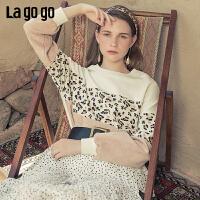 Lagogo2019秋新款学院风豹纹拼接卫衣女纯棉宽松淑女气质长袖上衣